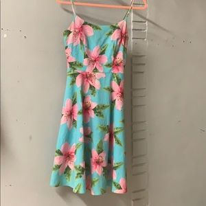 Beautiful blue dress  with pink flowers